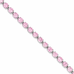 925 Sterling Silver Pink Synthetic Cubic Zirconia Round Faceted Bracelet