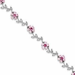 925 Sterling Silver Pink & White Synthetic Cubic Zirconia Floral Bracelet