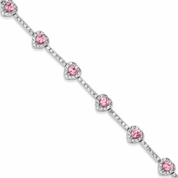 925 Sterling Silver Pink & White Synthetic Cubic Zirconia Heart Halo Bracelet