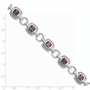 925 Sterling Silver Purple & White Synthetic Cubic Zirconia Cushion Halo Bracelet