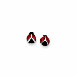 925 Sterling Silver Red and Black Enamel Children'S Ladybug Stud Earrings