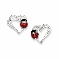 925 Sterling Silver Red and Black Enamel Heart and Ladybug Stud Earrings