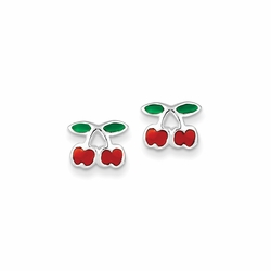 925 Sterling Silver Red and Green Enamel Children'S Cherry Stud Earrings