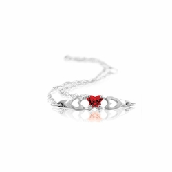 925 Sterling Silver Red Synthetic Cubic Zirconia Child'S 4-Prong Butterfly Bracelet