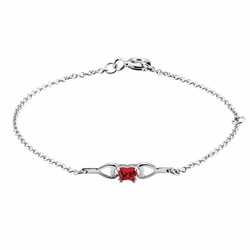 925 Sterling Silver Red Synthetic Cubic Zirconia Kid'S Butterfly Bracelet