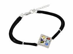 .925 Sterling Silver Rhodium Multishape Multicolor Cubic Zirconia Rope Necklace 18 Inches