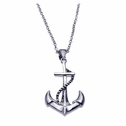 .925 Sterling Silver Rhodium Plated Anchor Rope Necklace 18 Inches