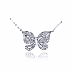 .925 Sterling Silver Rhodium Plated Butterfly Cubic Zirconia Necklace 18 Inches