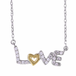 .925 Sterling Silver Rhodium Plated Love Necklace 18 Inches