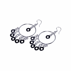 .925 Sterling Silver Rhodium Plated Multiple Open Black Circles Dangling Chandelier Hook Earrings - SOD