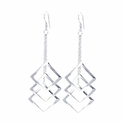 .925 Sterling Silver Rhodium Plated Multiple Open Square Dangling Wire Hook Earrings - SOD