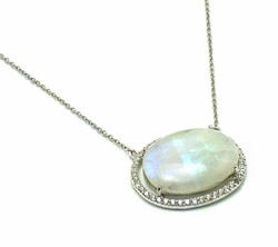 .925 Sterling Silver Rhodium Plated Oval Opal Pendant Necklace 18 Inches