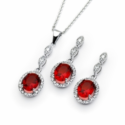 .925 Sterling Silver Rhodium Plated Red Ruby &  Clear Oval Cubic Zirconia Dangling  Earring & Dangling Necklace Set - SOD