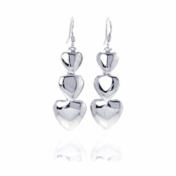 .925 Sterling Silver Rhodium Plated Three Graduated Solid Heart Dangling Hook Earrings - SOD