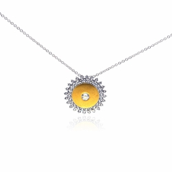 .925 Sterling Silver Rhodium Yellow Sun Cubic Zirconia Necklace 18 Inches