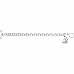 925 Sterling Silver Round Link with Kiss Pendant Charm Bracelet - Size: 7.5