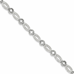 925 Sterling Silver White Synthetic Cubic Zirconia Box Catch Bracelet