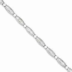 925 Sterling Silver White Synthetic Cubic Zirconia Channel Set Bracelet