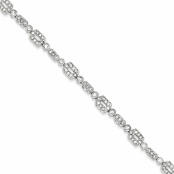 925 Sterling Silver White Synthetic Cubic Zirconia Faceted Round Bracelet
