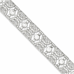 925 Sterling Silver White Synthetic Cubic Zirconia Filigree Bracelet