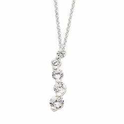 925 Sterling Silver White Synthetic Cubic Zirconia Five Stone Journey Pendant Necklace