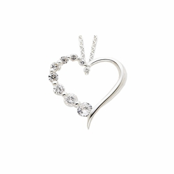 925 Sterling Silver White Synthetic Cubic Zirconia Journey Heart Pendant Necklace