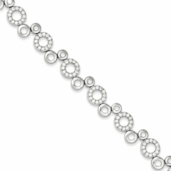 925 Sterling Silver White Synthetic Cubic Zirconia Multiple Circle Bracelet