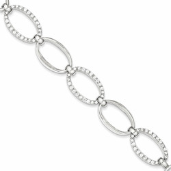 925 Sterling Silver White Synthetic Cubic Zirconia Oval Link Bracelet