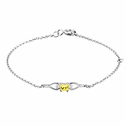 925 Sterling Silver Yellow Synthetic Cubic Zirconia Kid'S Four Prong Butterfly Bracelet