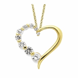925 Yellow Gold Flashed Silver White Synthetic Cubic Zirconia Heart Journey Pendant Necklace