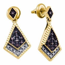 925 YP 0.19Ctw Cognac Diamond Ladies  Micro-Pave Earrings - Earrings