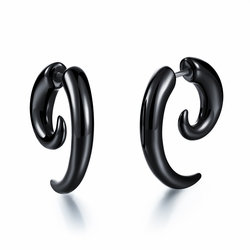 Acrylic black snail ear rings and ear nails Punk style piercing decorations -