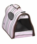 Airline Approved Folding Zippered Sporty Cage Pet Carrier - Stripe Pattern - Large