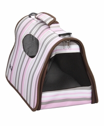 Airline Approved Folding Zippered Sporty Cage Pet Carrier - Stripe Pattern - Medium