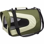 Airline Approved Folding Zippered Sporty Mesh Pet Carrier - Green & Khaki - Large