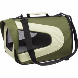 Airline Approved Folding Zippered Sporty Mesh Pet Carrier - Green & Khaki - Medium