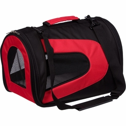 Airline Approved Folding Zippered Sporty Mesh Pet Carrier - Red & Black - Medium