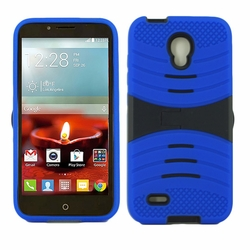Alcatel One Touch Conquest 7046T Hybrid Silicone Case Cover Stand Blue