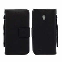 Alcatel One Touch Conquest 7046T Leather Wallet Pouch Case Cover Black