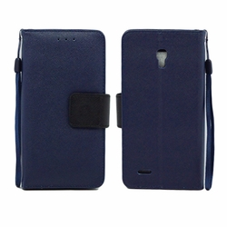 Alcatel One Touch Conquest 7046T Leather Wallet Pouch Case Cover Blue