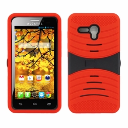 Alcatel One Touch Fierce XL Hybrid Silicone Case Cover Stand Red