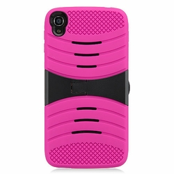 Alcatel One Touch IDOL 3 Hybrid Silicone Case Cover Stand Pink