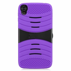 Alcatel One Touch IDOL 3 Hybrid Silicone Case Cover Stand Purple
