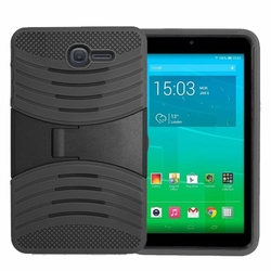 Alcatel OneTouch PIXI 7 Hybrid Silicone Case Cover Stand Black