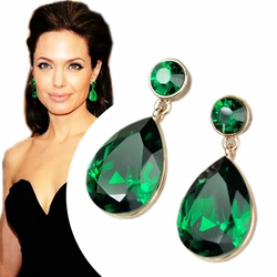 Angelina Jolie Inspired Gold Plated Emerald Crystal Drop Earrings -