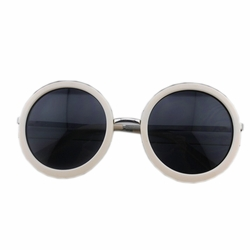 Beach Travel Vintage White Round Frame Fashion Eyewear Daily Sunglasses