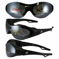 Birdz Phoenix Padded Glasses Convert to Goggles and Three Lens Kit (Clear, Smoke, Yellow)
