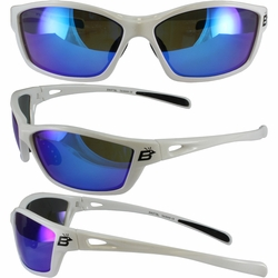 Birdz Swift White Frame Sunglasses with Blue Revo Lenses