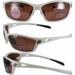Birdz Swift White Frame Sunglasses with Driving Mirror Lenses