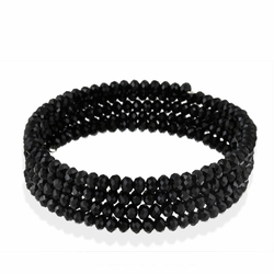 Black Glass Bead Coil Bracelet
